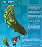 1boy 1girl artist_name brown_eyes commentary english_commentary english_text gen_1_pokemon green_hair green_skirt hat_feather highres humanization insect_girl kinkymation long_hair metapod poke_ball pokemon profile purple_hair skirt very_long_hair