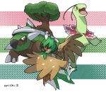 commentary_request creature decidueye enishi_(menkura-rin10) gen_2_pokemon gen_4_pokemon gen_7_pokemon highres looking_at_viewer meganium no_humans pokemon pokemon_(creature) signature striped striped_background torterra