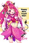 1girl ;d adapted_costume animal_print bangs blush choker cow_horns cow_print cow_tail cowboy_shot cure_grace earrings flower hair_flower hair_ornament hanadera_nodoka happy_new_year healin'_good_precure highres horns japanese_clothes jewelry kimono long_hair looking_at_viewer magical_girl mikorin nail_polish new_year one_eye_closed open_mouth pink_choker pink_eyes pink_hair pink_nails precure signature smile solo tail tiara v