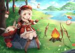 1girl ahoge backpack bag bangs blonde_hair blush boots campfire dress fish flower full_body genshin_impact hair_between_eyes hat hat_feather jumpy_dumpty klee_(genshin_impact) knee_boots long_hair long_sleeves looking_at_viewer low_twintails open_mouth pointy_ears red_dress red_eyes red_headwear sitting slime_(genshin_impact) smile solo tree twintails white_feathers white_legwear yan_xiaoqi_vita