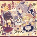 2020 3girls ahoge animal_ear_fluff arms_up bangs black_headwear black_skirt black_vest blonde_hair bloomers blush_stickers bow braid brown_eyes brown_hair capelet cheese cheese_print chibi chinese_zodiac commentary_request doily ears_through_headwear flower food full_body grey_hair hair_bow hair_tubes hakurei_reimu hat hat_bow highres kagami_mochi kirisame_marisa long_sleeves mouse_girl mouse_tail multiple_girls nazrin nikorashi-ka open_mouth pleated_skirt red_bow red_eyes red_shirt red_skirt ribbon-trimmed_sleeves ribbon_trim scarf shirt shoes single_braid skirt socks sunburst sunburst_background tail thank_you touhou triangle_mouth underwear upper_teeth vest white_bow white_legwear white_shirt wide_sleeves witch_hat year_of_the_rat yellow_background yellow_eyes yellow_scarf