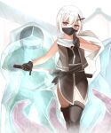 1girl absurdres bangs bare_shoulders black_gloves black_legwear black_shirt blue_eyes commentary_request eyebrows_visible_through_hair frozen gloves glowing glowing_eyes hair_between_eyes highres holding holding_sword holding_weapon ice katana kuji-in mask mouth_mask ninja non_(wednesday-classic) original red_eyes revision scarf sheath sheathing shirt sleeveless sleeveless_shirt solo_focus standing sword tentacles thigh-highs weapon white_hair white_scarf