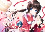 1girl 2021 animal animal_ears apron bangs black_hair blue_eyes blurry blurry_foreground chinese_zodiac closed_mouth commentary_request cow cow_ears cow_horns cream depth_of_field eyebrows_visible_through_hair floral_print food frilled_sleeves frills fruit holding horns japanese_clothes kimono kohinata_hoshimi long_hair long_sleeves low_twintails original pastry_bag red_kimono smile solo strawberry twintails very_long_hair white_apron wide_sleeves year_of_the_ox