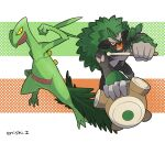 commentary_request creature enishi_(menkura-rin10) gen_3_pokemon gen_8_pokemon highres looking_at_viewer no_humans pokemon pokemon_(creature) rillaboom sceptile signature striped striped_background