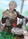 1boy armor armored_boots bangs blue_eyes blurry boots breastplate closed_mouth clouds commentary_request cross day depth_of_field eyebrows_visible_through_hair eyes_visible_through_hair gauntlets grass hair_between_eyes hair_over_one_eye highres hikarusorano leg_armor looking_to_the_side lord_knight_(ragnarok_online) male_focus outdoors pauldrons ragnarok_online shade short_hair shoulder_armor sitting solo sword tabard weapon white_hair