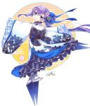 >:) 1girl absurdres bangs black_bow blue_bow blue_eyes bow closed_mouth commentary_request egasumi eyebrows_visible_through_hair fate/grand_order fate_(series) flower frilled_sleeves frills from_behind full_body hair_between_eyes hair_bow hair_bun hair_flower hair_ornament highres huge_filesize jako_(jakoo21) japanese_clothes kimono long_hair looking_at_viewer looking_back meltryllis new_year outstretched_arms print_kimono purple_flower purple_hair signature sleeves_past_fingers sleeves_past_wrists smile solo spread_arms standing v-shaped_eyebrows very_long_hair white_kimono