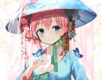 1girl blue_eyes blue_kimono blush breasts bug butterfly butterfly_on_hand cherry_blossoms closed_mouth eyebrows_visible_through_hair flower green_ribbon hair_between_eyes hat highres insect japanese_clothes kimono looking_at_viewer megurine_luka pink_flower pink_hair ribbon ruda_(ruda_e) short_hair small_breasts smile solo upper_body vocaloid
