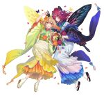 2girls absurdres bangs black_gloves blonde_hair blue_eyes blue_hair bug butterfly commentary_request confetti facial_mark fairy_wings fire_emblem fire_emblem_heroes full_body gloves gradient gradient_hair hair_ornament hair_over_one_eye highres holding insect japanese_clothes kimono kippu long_hair looking_at_viewer multicolored_hair multiple_girls official_art orange_hair peony_(fire_emblem) petals pointy_ears purple_hair sandals shimekazari smile tanbi triandra_(fire_emblem) white_background white_legwear wide_sleeves wings