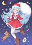1girl artist_name bangs belt blue_hair braid brown_belt brown_footwear candy candy_cane capelet christmas christmas_tree commentary crescent_moon cross-laced_footwear dress food full_body fur-trimmed_capelet fur_trim gloves hair_ribbon hat highres holding holding_sack long_hair looking_at_viewer moon open_mouth original over_shoulder pioxpioo red_capelet red_dress red_gloves red_headwear red_ribbon reindeer ribbon sack santa_dress santa_gloves santa_hat shoes short_dress signature smile snowflake_background snowman solo standing standing_on_one_leg starry_background symbol_commentary thigh-highs twin_braids white_legwear yellow_eyes