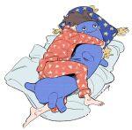 1girl barefoot bed_sheet brown_hair object_hug original pajamas pants pillow print_pajamas red_pants red_shirt shirt short_hair signature solo stuffed_animal stuffed_toy umishima_senbon