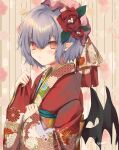 1girl :/ alternate_costume bangs bat_wings blush commentary_request eyebrows_visible_through_hair floral_print flower hair_between_eyes hair_flower hair_ornament hat japanese_clothes kimono looking_at_viewer mob_cap obi parted_lips pink_eyes pink_headwear pointy_ears purple_hair red_kimono remilia_scarlet rose sash shiromoru_(yozakura_rety) short_hair signature slit_pupils solo touhou upper_body wide_sleeves wings