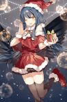 1girl ;d bare_shoulders bauble black_bow black_legwear black_ribbon blue_background blue_hair blush bow christmas christmas_ornaments dress en_(shisui_no_utage) eyebrows_visible_through_hair feathered_wings feet_out_of_frame fur-trimmed_dress fur-trimmed_footwear fur-trimmed_headwear fur_trim gift hat highres holding holding_gift long_hair looking_at_viewer off-shoulder_dress off_shoulder one_eye_closed open_mouth original pom_pom_(clothes) red_dress red_footwear red_headwear ribbon santa_costume santa_hat smile solo standing standing_on_one_leg thigh-highs wings wrist_cuffs yellow_eyes