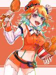 1girl absurdres belt breasts chef_hat chicken_leg detached_sleeves earrings feather_earrings feathers food gradient_hair green_hair hat highres holding holding_food hololive hololive_english jewelry mamiya_miya medium_breasts midriff miniskirt multicolored_hair navel open_mouth orange_hair orange_headwear orange_skirt skirt solo sparkling_eyes thigh-highs virtual_youtuber white_headwear
