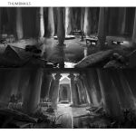 assassin's_creed:_origins assassin's_creed_(series) column commentary_request courtyard darkhikari destruction egyptian english_text grass greyscale highres jug letterboxed monochrome no_humans pillar pot sarcophagus scenery signature table temple water