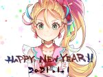 1girl 2021 blonde_hair blue_hair choker closed_mouth collarbone commentary_request crossed_arms cure_summer green_eyes happy_new_year highres lazy_orange long_hair looking_at_viewer magical_girl multicolored_hair natsumi_manatsu new_year pink_hair ponytail precure solo star_(symbol) starry_background tropical-rouge!_precure upper_body white_background white_choker