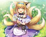 1girl :d animal_ear_fluff animal_ears arknights bare_shoulders blonde_hair blue_hairband braid commentary day flower frilled_skirt frills grass hair_rings hairband highres holding holding_flower infection_monitor_(arknights) ion_(on01e) looking_at_viewer multicolored_hair multiple_tails on_grass open_mouth outdoors pleated_skirt purple_skirt revision shirt sidelocks skirt smile solo sparkle sunlight suzuran_(arknights) tail twin_braids two-tone_hair white_flower white_hair white_shirt
