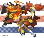 commentary_request creature delphox emboar enishi_(menkura-rin10) gen_4_pokemon gen_5_pokemon gen_6_pokemon highres infernape looking_at_viewer no_humans pokemon pokemon_(creature) signature striped striped_background