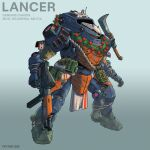 artist_name character_name english_commentary explosive flower genghis_(lancer_rpg) gradient gradient_background grenade gun highres holding holding_gun holding_weapon holstered_weapon knife lancer_rpg mecha no_humans official_art peyton_gee pink_eyes radio_antenna red_flower science_fiction solo standing weapon wreath