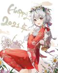 1girl 2021 alpha_(ypalpha79) animal_ears barefoot bell blush bouquet braid brown_eyes chinese_zodiac commentary cow_ears cow_girl cow_tail dutch_angle english_commentary flower flower_wreath from_side hair_flower hair_ornament happy_new_year highres holding holding_bouquet japanese_clothes kimono kneeling long_hair long_sleeves looking_at_viewer looking_to_the_side new_year original red_kimono silver_hair single_braid solo tail unmoving_pattern white_flower wide_sleeves year_of_the_ox