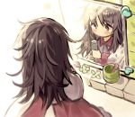 1boy 1girl bathroom brown_eyes brown_hair cup freckles fuupu highres holding holding_brush indoors kirby's_dream_land kirby_(series) kirby_64 messy_hair mirror motion_lines ripple_star_queen solo tile_wall tiles