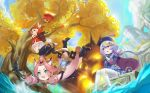 3girls absurdres ahoge animal_ear_fluff animal_ears backpack bag bangs bead_necklace beads blonde_hair blush boots braid cat_tail clouds cloudy_sky coin coin_hair_ornament diona_(genshin_impact) dress explosion fang fish full_body genshin_impact green_eyes hair_between_eyes hat hat_feather highres jewelry jumping klee_(genshin_impact) knee_boots long_hair long_sleeves low_twintails mountain multiple_girls necklace open_mouth pink_hair pointy_ears purple_hair purple_headwear qing_guanmao qiqi red_dress red_eyes red_headwear saliva short_hair sky sleeves_past_wrists smile sunlight tail talisman thigh-highs tree twintails violet_eyes white_feathers white_legwear wide_sleeves xujiankao
