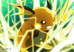 black_eyes clenched_teeth commentary_request creature electricity enishi_(menkura-rin10) gen_1_pokemon green_background highres no_humans pokemon pokemon_(creature) raichu signature simple_background solo standing teeth