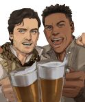 2boys :d absurdres alcohol arm_around_shoulder beer beer_mug black_hair brown_eyes brown_hair brown_jacket brown_scarf collared_shirt commentary cup dark_skin dark_skinned_male english_commentary facial_hair finn_(star_wars) foam grin hand_on_another's_shoulder happy highres holding holding_cup jacket long_sleeves looking_at_viewer male_focus mug multiple_boys open_mouth poe_dameron scarf shirt short_hair side-by-side simple_background smile star_wars star_wars:_the_rise_of_skywalker teeth thisuserisalive tongue upper_body white_background white_shirt