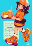 1girl a&w absurdres aqua_background bag bangs baseball_cap blush brown_hair cup disposable_cup drinking_straw food full_body hat highres holding holding_tray huge_filesize kneehighs logo long_hair moai_(more_e_4km) onion_rings orange_footwear orange_shirt original ponytail receipt red_eyes shirt shoes sidelocks signature simple_background sneakers solo tray uniform walking white_legwear