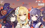 3girls :t artist_request bare_shoulders black_hair blonde_hair blue_eyes blue_headwear blurry braid capelet choker depth_of_field detached_sleeves dress eating flower genshin_impact hair_ears hair_flower hair_ornament hat holding keqing long_hair looking_at_viewer lumine_(genshin_impact) mona_(genshin_impact) multiple_girls official_art orange_eyes outdoors parted_lips petals purple_hair self_shot sidelocks smile third-party_source twintails upper_body viewfinder violet_eyes white_dress witch_hat