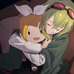 1girl blanket bow character_doll closed_mouth commentary goggles goggles_on_head green_hair gumi hair_bow hair_ornament hairclip indoors kagamine_rin medium_hair object_hug open_mouth red_goggles sad shirt smile solid_oval_eyes tears vocaloid white_bow white_shirt wounds404