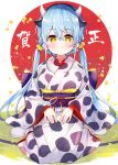 1girl animal_ears animal_print bangs black_hairband blue_hair blush breasts chinese_zodiac closed_mouth commentary_request copyright_request cow_ears cow_girl cow_horns cow_print eyebrows_visible_through_hair hair_between_eyes hair_ornament hair_scrunchie hairband highres horns japanese_clothes kimono long_hair long_sleeves looking_at_viewer low_twintails medium_breasts meito_(maze) obi print_kimono sash scrunchie sitting sleeves_past_wrists socks solo translation_request twintails very_long_hair wariza white_kimono white_legwear wide_sleeves year_of_the_ox yellow_eyes yellow_scrunchie