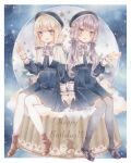 2girls :d :o absurdres blonde_hair blue_dress blue_eyes blue_headwear boots border bow braid brown_footwear capelet clouds constellation dated dress english_text eyebrows_visible_through_hair frilled_capelet frills grey_bow grey_legwear grey_ribbon hair_bow hair_ornament hairclip happy_birthday hat highres kizuna_akari long_hair long_sleeves marker_(medium) moon_(ornament) multiple_girls open_mouth paruno pleated_dress purple_hair shoes sitting smile socks star_(sky) star_(symbol) star_hair_ornament thigh-highs traditional_media twin_braids twintails violet_eyes vocaloid white_border white_capelet white_legwear yuzuki_yukari