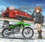 1girl absurdres bag bangs blue_sky boots brown_eyes brown_footwear brown_hair carrying closed_mouth coat commentary_request day eyebrows_visible_through_hair gloves green_ribbon grey_coat grey_gloves ground_vehicle hair_ribbon hand_in_hair highres kawasaki kawasaki_kl250g knee_pads locomotive logo long_sleeves looking_to_the_side medium_hair mikeran_(mikelan) motor_vehicle motorcycle original outdoors pants partial_commentary ponytail railing ribbon satchel sky smile snow solo standing white_pants