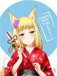 1girl 2021 absurdres animal_ears arrow_(projectile) blonde_hair blush dungeon_ni_deai_wo_motomeru_no_wa_machigatteiru_darou_ka flower fox_ears fox_girl fox_tail green_eyes hair_flower hair_ornament hamaya hands_up happy_new_year highres holding holding_arrow japanese_clothes kimono kitsune kuro_rei_kyuu long_hair looking_at_viewer new_year red_kimono sanjouno_haruhime smile solo tail upper_body yukata