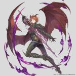 1girl armor aura aureolin31 breastplate chainmail clawed_gauntlets closed_mouth dark_aura dragon_girl dragon_horns dragon_wings fire gauntlets greaves green_armor green_eyes grey_background highres holding holding_sword holding_weapon horns official_art purple_fire short_hair simple_background solo sword torn torn_wings valkyrie_anatomia weapon wings