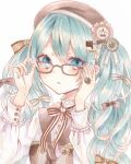 1girl :o adjusting_eyewear aqua_hair aqua_nails blue_eyes bow brown_bow brown_headwear commentary eyebrows_visible_through_hair frilled_cuffs frills glasses hair_between_eyes hair_bow hair_ribbon hat hatsune_miku highres jewelry long_sleeves looking_at_viewer marker_(medium) open_mouth paruno ribbon ring solo striped striped_bow striped_ribbon traditional_media twintails vocaloid