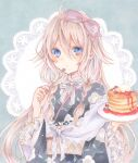 1girl ahoge blue_eyes braid closed_mouth commentary cutlery expressionless food fork frilled_sleeves frills hair_between_eyes highres holding holding_fork holding_plate ia_(vocaloid) japanese_clothes kimono long_hair marker_(medium) pancake paruno pink_hair plate ribbon solo striped striped_ribbon traditional_media twin_braids vocaloid wide_sleeves