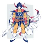 1boy armor cape dragon_quest dragon_quest_i full_body gloves helmet hero_(dq1) holding holding_sword holding_weapon horned_helmet male_focus shield simple_background solo sword weapon yuza