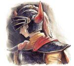 1boy armor cape dragon_quest dragon_quest_i helmet hero_(dq1) horned_helmet male_focus profile simple_background solo upper_body yuza