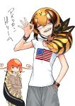 2girls absurdres american_flag antennae black_hair blonde_hair bug cardigan centipede centipede_girl choker crossed_arms evolvingmonkey fangs hand_in_pocket highres insect_girl multiple_girls ok_sign orange_eyes original pants shirt sweatdrop sweatpants t-shirt translated wasp_girl