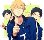3boys ;) ^^^ anger_vein angry bangs basketball_uniform black_eyes black_hair blonde_hair blue_jacket blue_shirt clenched_hand clothes_writing collarbone commentary_request finger_gun green_background hair_between_eyes jacket jewelry kasamatsu_yukio kise_ryouta kuroko_no_basuke looking_at_viewer male_focus mashima_shima moriyama_yoshitaka multiple_boys number one_eye_closed open_clothes open_jacket parted_lips pointing pointing_at_viewer punching shirt short_hair single_earring smile sportswear star_(symbol) teeth track_jacket twitter_username two-tone_background upper_body upper_teeth white_background yellow_eyes