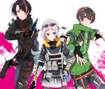 1girl 2boys apex_legends aqua_eyes ashieda_lenri black_gloves black_hair blue_hair bright_pupils brown_hair electricity fingerless_gloves gloves goggles goggles_on_head green_jacket grey_eyes gun hand_on_hip handgun headset highres holding holding_gun holding_knife holding_weapon indie_virtual_youtuber jacket knife looking_to_the_side mole mole_under_eye mole_under_mouth multicolored_hair multiple_boys natsume_ulta orange_eyes orange_hair pistol pochi_(pochi-goya) pochimaru_(vtuber) puckered_lips smile streaked_hair weapon white_pupils