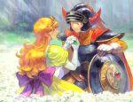 1boy 1girl ^_^ armor cape closed_eyes day dragon_quest dragon_quest_i elbow_gloves flower gloves helmet hero_(dq1) horned_helmet long_hair orange_hair outdoors princess_laura puffy_short_sleeves puffy_sleeves shield short_sleeves tiara yuza