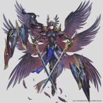 1girl armor aureolin31 black_gloves black_hair closed_mouth dual_wielding feathered_wings feathers fingerless_gloves floating floating_object gloves greaves helmet highres holding holding_sword holding_weapon long_hair multiple_wings pauldrons purple_feathers purple_wings red_eyes shield shoulder_armor smile solo sword valkyrie_anatomia vambraces very_long_hair weapon wings