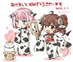 2021 2girls ahoge animal_ears animal_print bell blush brown_hair cat chinese_zodiac chiyoda_momo cow_ears cow_print curled_horns demon_girl demon_horns demon_tail eyebrows_visible_through_hair hair_ornament hairclip happy_new_year horns japanese_clothes kimono lilith_(machikado_mazoku) long_hair machikado_mazoku multiple_girls new_year offering open_mouth pink_hair shiny shiny_hair short_hair statue tail takano_ui translation_request year_of_the_ox yoshida_yuuko_(machikado_mazoku)