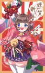 1girl 2021 :d animal_ears arrow_(projectile) bead_necklace beads bell blue_eyes blush brown_hair chinese_zodiac commentary_request cow_ears cow_girl cow_horns cow_tail facepaint fang floral_print hagoita hair_ornament hakama_skirt hamaya hanetsuki highres horns japanese_clothes jewelry jingle_bell looking_at_viewer namaonpa necklace open_mouth original paddle pleated_skirt sandals short_hair skirt smile solo tail thigh-highs white_legwear wide_sleeves year_of_the_ox zettai_ryouiki