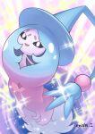 :d commentary_request creature enishi_(menkura-rin10) full_body gen_8_pokemon happy hatterene highres no_humans open_mouth pokemon pokemon_(creature) signature smile solo sparkle standing