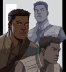 1boy absurdres black_eyes black_hair brown_jacket brown_shirt closed_mouth commentary dark_skin dark_skinned_male english_commentary finn_(star_wars) grey_background highres jacket looking_at_viewer looking_to_the_side male_focus multiple_views open_clothes open_jacket parted_lips pillarboxed shirt short_hair star_wars thisuserisalive two-tone_background upper_body white_background