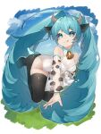 1girl absurdres animal_ears animal_print aqua_eyes aqua_hair bare_shoulders black_legwear bottle commentary cow_ears cow_girl cow_horns cow_print detached_sleeves grass hair_ornament hatsune_miku high_heels highres horns legs_up leotard lips long_hair milk_bottle neck_bell reirou_(chokoonnpu) see-through_sleeves shiny shiny_clothes shiny_legwear sky smile solo spilling thigh-highs tongue tongue_out twintails very_long_hair vocaloid white_leotard