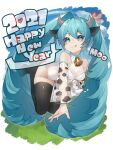 1girl 2021 absurdres animal_ears animal_print aqua_eyes aqua_hair bare_shoulders black_legwear bottle chinese_zodiac commentary cow_ears cow_girl cow_horns cow_print detached_sleeves grass hair_ornament happy_new_year hatsune_miku heart high_heels highres horns legs_up leotard lips long_hair looking_at_viewer milk_bottle neck_bell new_year reirou_(chokoonnpu) see-through_sleeves shiny shiny_clothes shiny_legwear sky smile solo spilling thigh-highs tongue tongue_out twintails very_long_hair vocaloid white_leotard year_of_the_ox